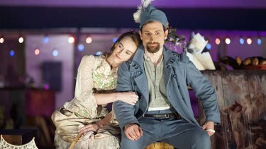 Wordplay and swordplay: Lizzie Schebesta and Yalin Ozucelik in <em>Cyrano de Bergerac</em>, a play about adventure and romance, humour and heartbreak.