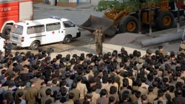 A North Korean construction division officer apologises to residents following a serious accident at the construction site of an apartment block in Phyongchon District, Pyongyang.