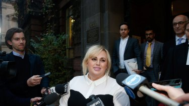 Rebel Wilson leaving the Supreme Court yesterday.