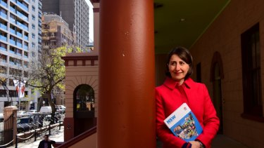 NSW State Treasurer Gladys Berejiklian poses with the 2016/17 budget papers outside State Parliament House.