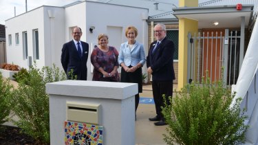 Left to right: Mr John Barrington, Anglicare WA Chairman, Ms Rieki Rolle, Manager Y-Shac, Her Excellency Mrs Kerry Sanderson AC, Governor for Western Australia and Mr Ian Carter AM, Anglicare WA Chief Executive Officer.