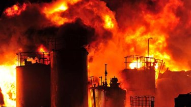 Fire crews struggled to control the massive blaze at the Dandenong South factory last night.