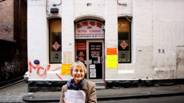 A 2006 file photograph of Barbara Nichol standing outside Wing Loong Chinese restaurant in Heffernan Lane.