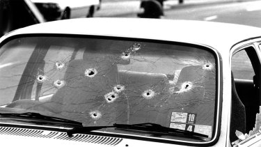 The car of a victim in the 1987 Hoddle Street shooting.
