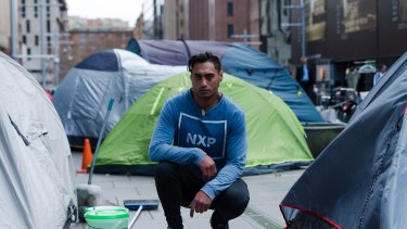 Rewi Waetford, 33, among tents in Martin Place that the state government plans to remove.