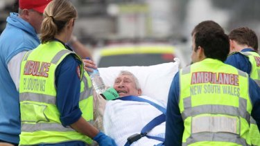 Rushed to hospital ... five of the 96 residents suffered severe burns.