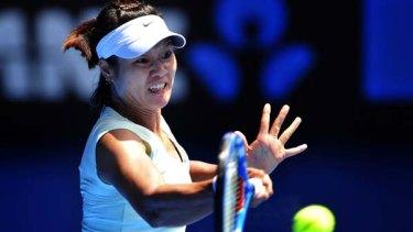 Li Na during her match against Caroline Wozniacki.