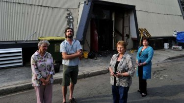 COUNTING THE COST: The secretary of the Polish  White Eagle Club,  Wanda Horky, vice-president, Andrew Bajkowski, president Barbara Alwast and her daughter Lisa Alwast outside the damaged building on Tuesday.