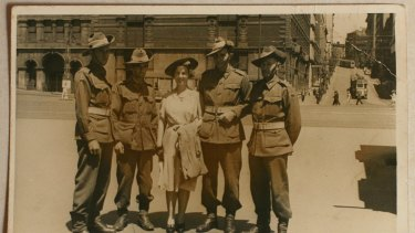 The Leask brothers along with Malcolm's wife Orba. From left; Harold, Alexander, Orba, Malcolm and Henry.