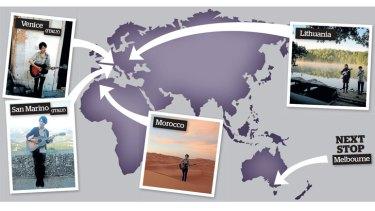Rock 'n' stroll: Hideki Sakomizu has set out to play in every country on Earth.