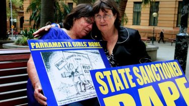 Margaret, who attended Parramatta girls home, with  founder of care leavers Australia network Leonie Sheedy, outside the Royal Commission into Institutional Responses to child sexual abuse.