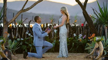 Blake Garvey, 31, proposing to Sam Frost, 25, on <i>The Bachelor Australia</i>.