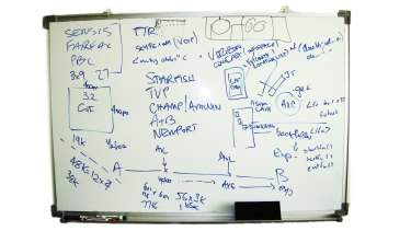Writing on the wall: Scribbles on a whiteboard made by Google Maps co-founder Noel Gordon as his start-up negotiated its sale to Google in 2004.