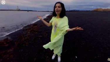 Björk dances and spins around the camera in the virtual reality video clip for her song <i>Stonemilker.</i>