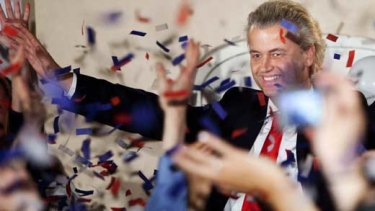 Geert Wilders celebrates his party's performance i nthe elections.