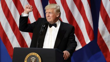 President Donald Trump speaks at The Salute To Our Armed Services Inaugural Ball in Washington, Friday, Jan. 20, 2017. (AP Photo/David J. Phillip)