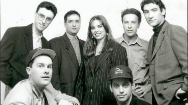 <i>The Late Show</i> team included (from back left) Tony Martin, Tom Gleisner, Mick Molloy, Jane Kennedy, Rob Sitch, Santo Cilauro and Jason Stephens. Judith Lucy is not pictured.