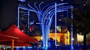 Blues in the night: The Tree of Light is designed to attract visitors to Federation Square.