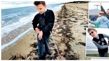 Sam Valavanis (main picture) picks up some shells at Elwood beach during a program called So You Think You Can Move, organised through Guide Dogs Victoria