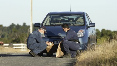 Abandoned in unexplained circumstances ... Herman Rockefeller's Prius, found at Ballan, north of Melbourne.