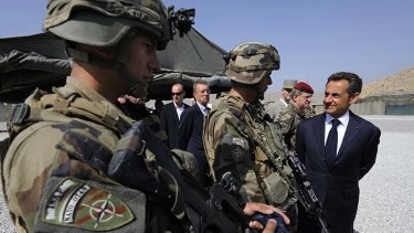 France's President Nicolas Sarkozy visiting French troops in the Surobi province of Afghanistan.