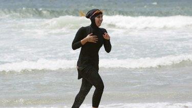 Burqini ... 20-year-old trainee volunteer surf life saver Mecca Laalaa at North Cronulla Beach in Sydney in 2007.