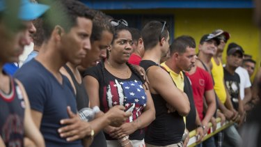 Cuban migrants take part in a protest demanding access to Nicaragua, in Penas Blancas, Costa Rica.
