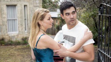 Kate Jenkinson and James Stewart in <I>Hiding</i>.