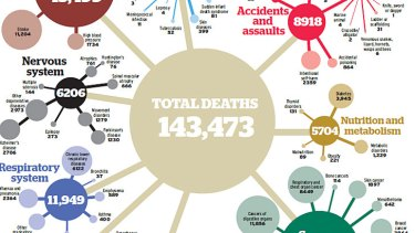 """A graphical representation of Australian causes of death. To see the full image, <a href=""""http://images.smh.com.au/file/2012/12/29/3919080/cancer.jpg?rand=1356742625991""""><b>click here</a></b>."""