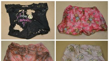 The mottled clothes and suitcase label found with a child's body in South Australia.