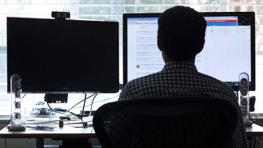 Efficient: Farhad Manjoo works with his second monitor turned off.