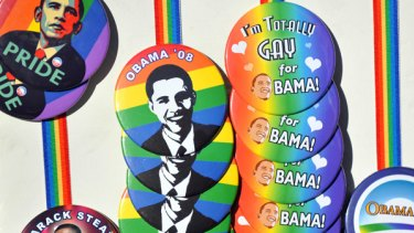 Badges featuring pictures of US President-elect Barack Obama during a demonstration to condemn the ban of same-sex marriages.