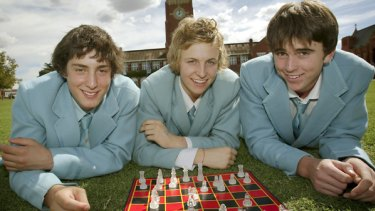 Geelong Grammar students (from left) Mehmet Arif, Thomas Claeys and Jack Walker, who are off to the Russian republic of Kalmykia to play chess.