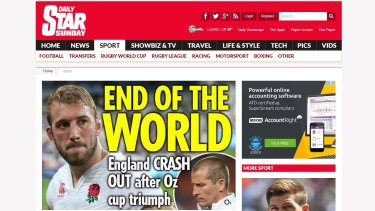 The UK press mourns England's embarrassing loss to Australia in the Rugby World Cup.