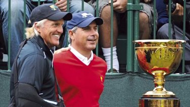 Preview ... captains Greg Norman and  Fred Couples at The Presidents Cup in San Francisco last year. Both will play at The Lakes in December. The Cup's 2011 series is at Royal Melbourne