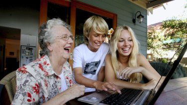 Staying in touch … Nan Bosler uses Facebook to keep in touch with her grandchildren Billy and Katie.