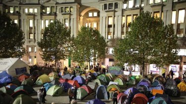 """Camping out ... Right Reverend Graeme Knowles stepped down after criticism over handling the """"Occupy"""" protest."""