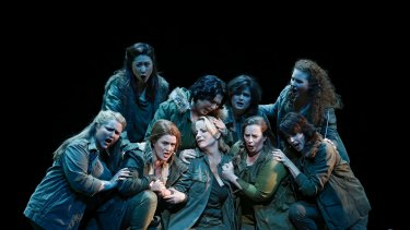 The Valkyries have landed: Anna-Louise Cole (Gerhilde), Hyeseoung Kwon (Helmwige), Dominica Matthews (Schwertleite), Roxane Hislop (Rossweisse), Lise Lindstron (Brunnhilde), Nicole Youl (Grimgerde), Amanda Atlas (Siegrune), Olivia Cranwell (Ortlinde) and Sian Pendry (Waltraute).
