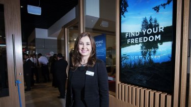 Catriona Noble, ANZ managing director retail distribution, at the opening of the Parramatta Home Loan Centre.