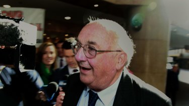 Explosive evidence: Property developer Hilton Grugeon arrives at the ICAC on Thursday.