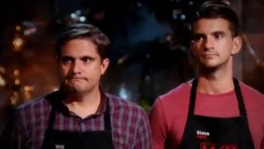 Will and Steve await the verdict of the judges during their first elimination cook-off.