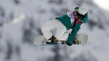 What goes up: Holly Crawford crashed twice in the halfpipe.