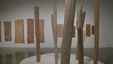 Gulumbu Yunupingu's pole installation at the Museum of Contemporary Art, Sydney.