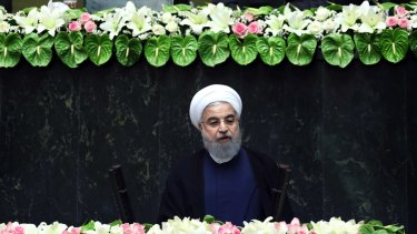 Iran's President Hasan Rouhani delivers a speech after his swearing-in ceremony for the second term in office.