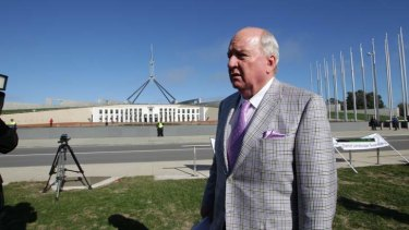 Broadcaster Alan Jones at the anti-wind farm rally out the front of Parliament House in Canberra on June 18.