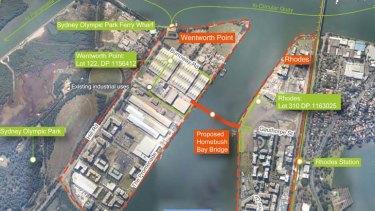 New plans ... the Homebush Bay Bridge Draft Environmental Assessment for public exhibition.