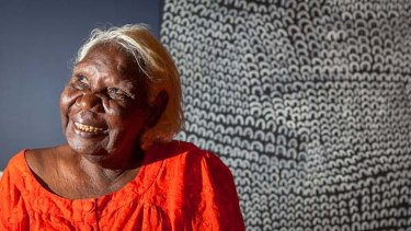 New landmark: Lena Nyadbi and her artwork.