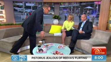 Favourite exercise: Bob Carr shows Samantha Armytage and David Koch how to do the one-legged Romanina deadlift.
