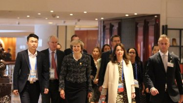 Australian Prime Minister Malcolm Turnbull met with his British counterpart Theresa May on September 5, 2016 at Hyatt Regency Hotel in Hangzhou. The leaders were in Hangzhou to attend G20 Leaders' Summit. Photo:?Sanghee Liu