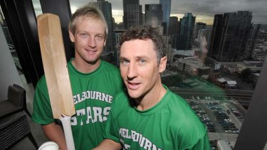 Two's company: Cameron White and David Hussey are Melbourne Stars recruits.